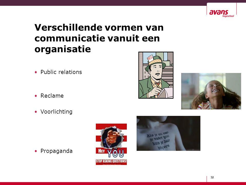 Verschillende vormen van communicatie vanuit een organisatie Public relations Reclame Voorlichting Propaganda 32