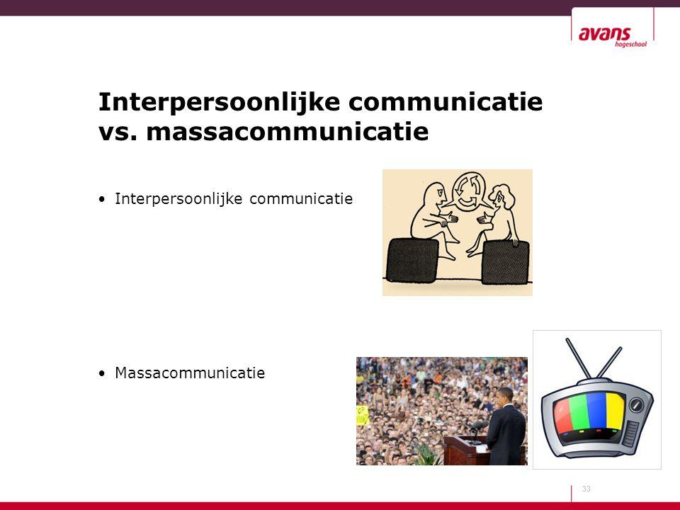 Interpersoonlijke communicatie vs. massacommunicatie 33 Interpersoonlijke communicatie Massacommunicatie