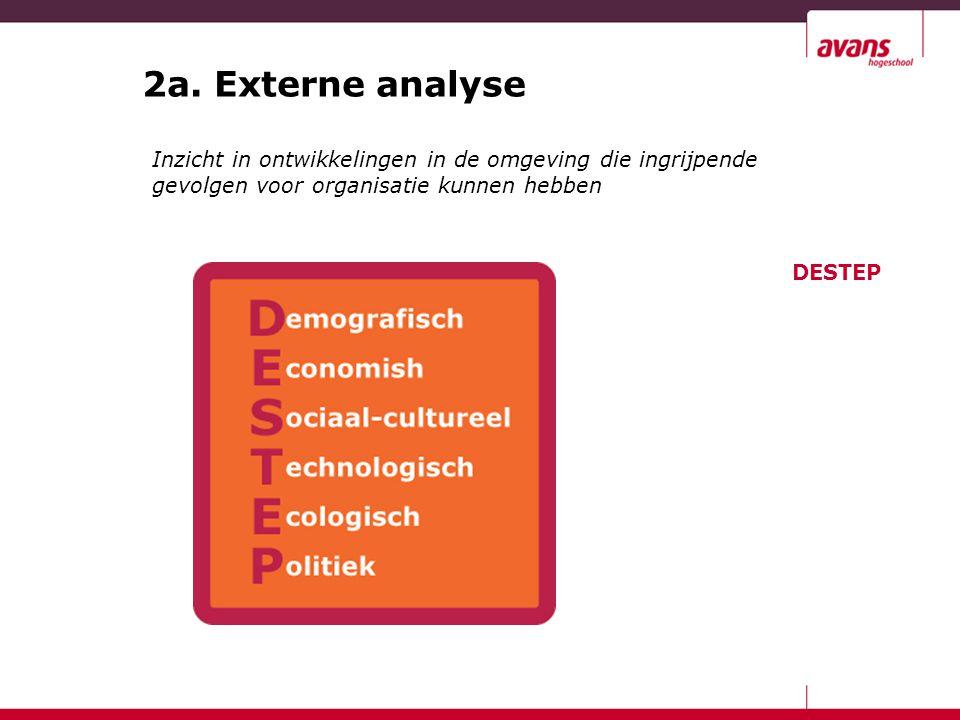 2a. Externe analyse Inzicht in ontwikkelingen in de omgeving die ingrijpende gevolgen voor organisatie kunnen hebben DESTEP