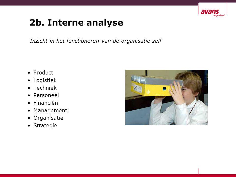 2b. Interne analyse Product Logistiek Techniek Personeel Financiën Management Organisatie Strategie Inzicht in het functioneren van de organisatie zel