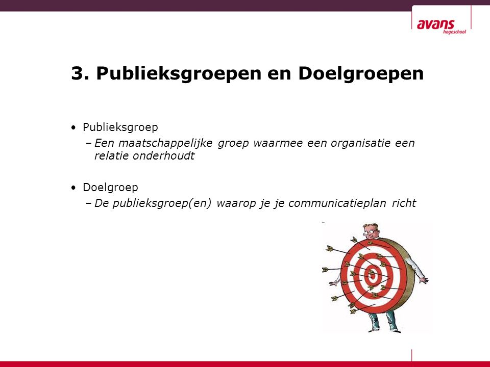 3. Publieksgroepen en Doelgroepen Publieksgroep –Een maatschappelijke groep waarmee een organisatie een relatie onderhoudt Doelgroep –De publieksgroep