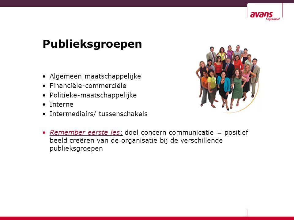Publieksgroepen Algemeen maatschappelijke Financiële-commerciële Politieke-maatschappelijke Interne Intermediairs/ tussenschakels Remember eerste les: