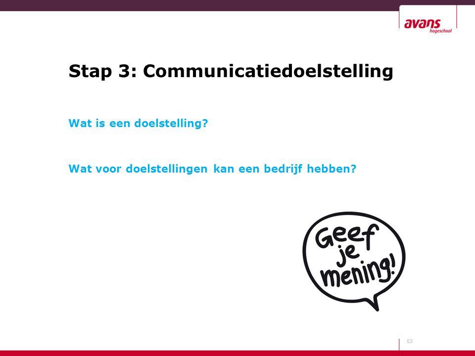 Stap 3: Communicatiedoelstelling Wat is een doelstelling? Wat voor doelstellingen kan een bedrijf hebben? 53