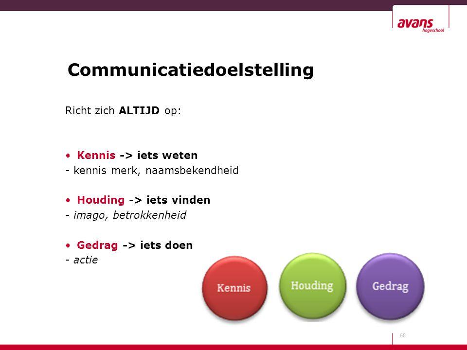 Communicatiedoelstelling Richt zich ALTIJD op: Kennis -> iets weten - kennis merk, naamsbekendheid Houding -> iets vinden - imago, betrokkenheid Gedra