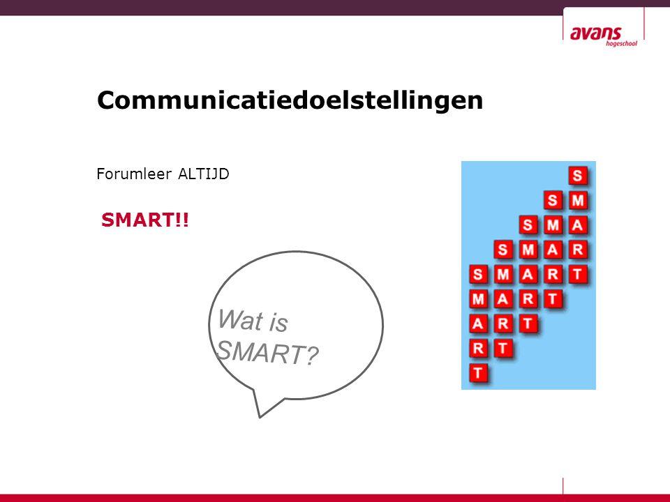 Communicatiedoelstellingen Forumleer ALTIJD SMART!! Wat is SMART?