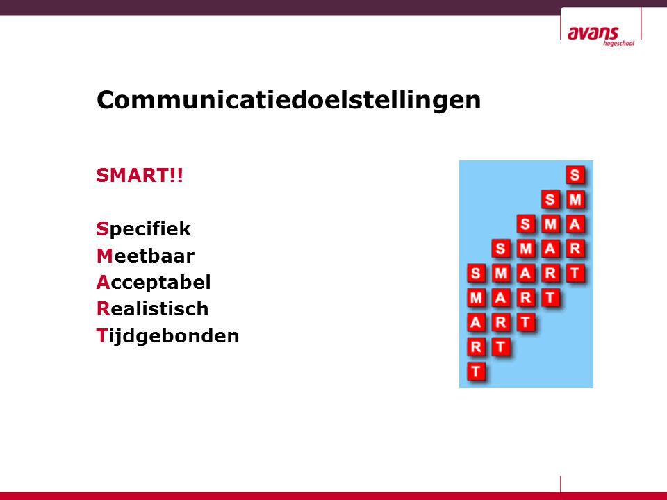Communicatiedoelstellingen SMART!! Specifiek Meetbaar Acceptabel Realistisch Tijdgebonden