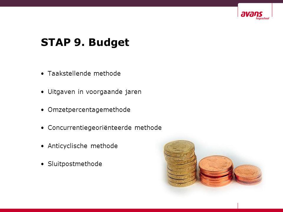STAP 9. Budget Taakstellende methode Uitgaven in voorgaande jaren Omzetpercentagemethode Concurrentiegeoriënteerde methode Anticyclische methode Sluit