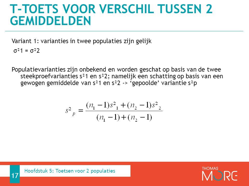 Variant 1: varianties in twee populaties zijn gelijk σ²1 = σ²2 Populatievarianties zijn onbekend en worden geschat op basis van de twee steekproefvari