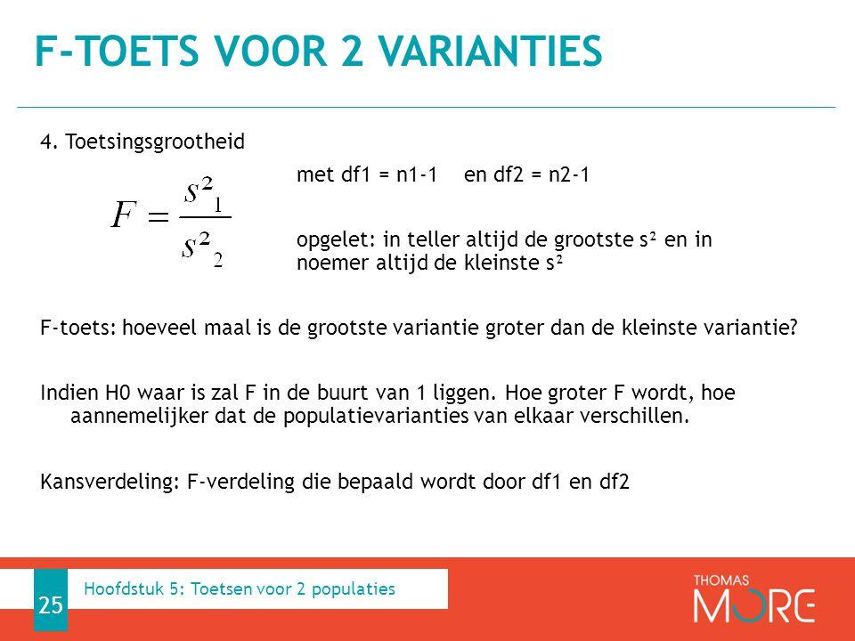 4. Toetsingsgrootheid met df1 = n1-1 en df2 = n2-1 opgelet: in teller altijd de grootste s² en in noemer altijd de kleinste s² F-toets: hoeveel maal i