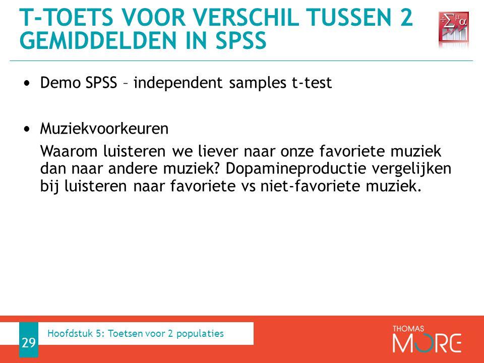 Demo SPSS – independent samples t-test Muziekvoorkeuren Waarom luisteren we liever naar onze favoriete muziek dan naar andere muziek? Dopamineproducti