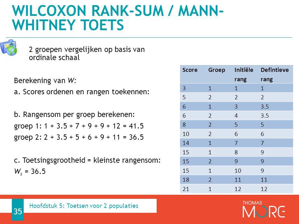 2 groepen vergelijken op basis van ordinale schaal Berekening van W: a. Scores ordenen en rangen toekennen: b. Rangensom per groep berekenen: groep 1:
