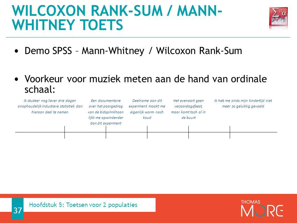 Demo SPSS – Mann-Whitney / Wilcoxon Rank-Sum Voorkeur voor muziek meten aan de hand van ordinale schaal: WILCOXON RANK-SUM / MANN- WHITNEY TOETS 37 Ik