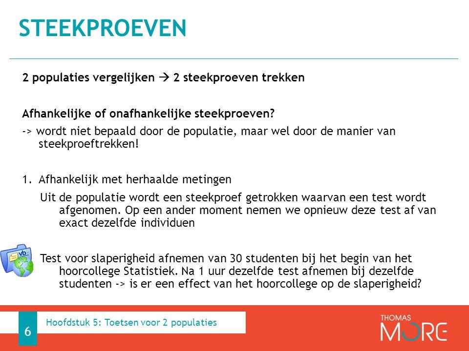 2.Afhankelijk met gematchte steekproeven Uit de populatie wordt een steekproef getrokken waarvan een test wordt afgenomen.