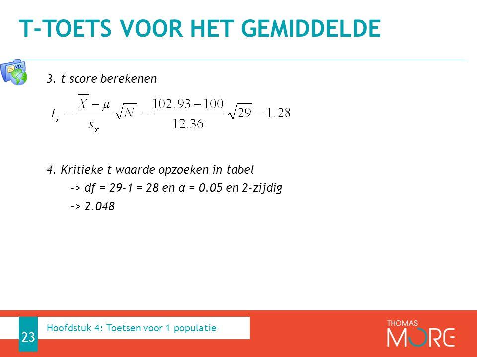 3. t score berekenen 4. Kritieke t waarde opzoeken in tabel -> df = 29-1 = 28 en α = 0.05 en 2-zijdig -> 2.048 T-TOETS VOOR HET GEMIDDELDE 23 Hoofdstu