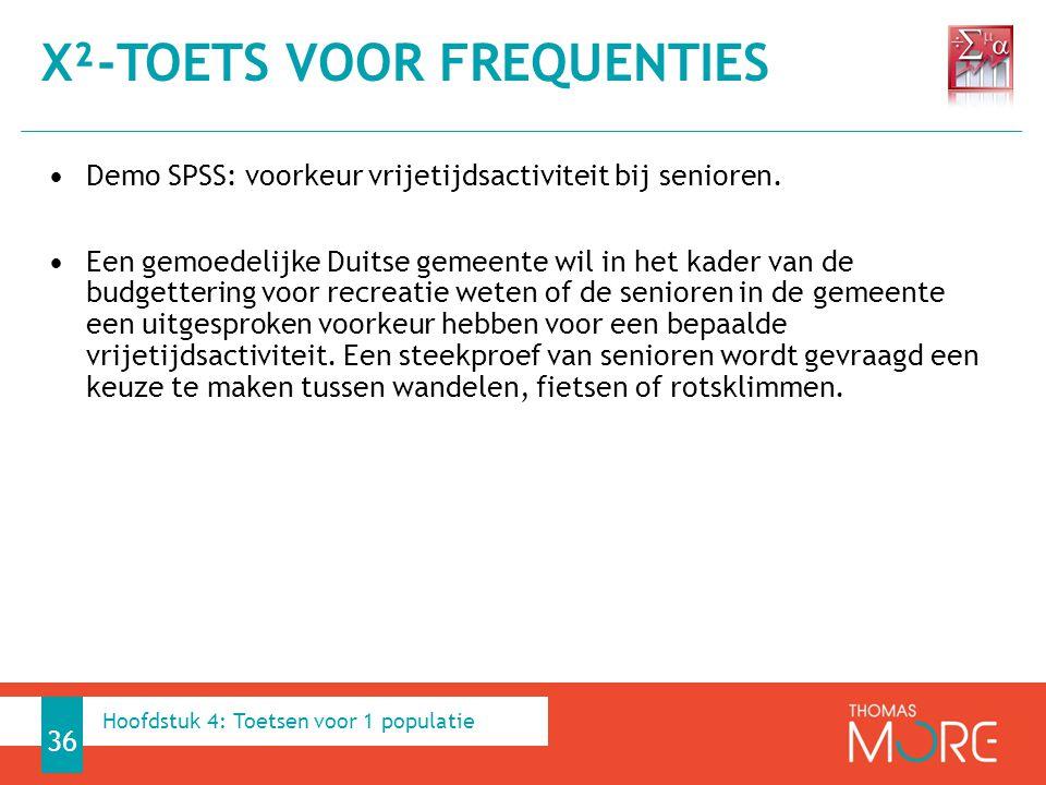 Demo SPSS: voorkeur vrijetijdsactiviteit bij senioren. Een gemoedelijke Duitse gemeente wil in het kader van de budgettering voor recreatie weten of d