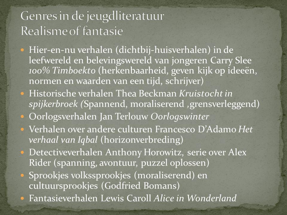 Hier-en-nu verhalen (dichtbij-huisverhalen) in de leefwereld en belevingswereld van jongeren Carry Slee 100% Timboekto (herkenbaarheid, geven kijk op
