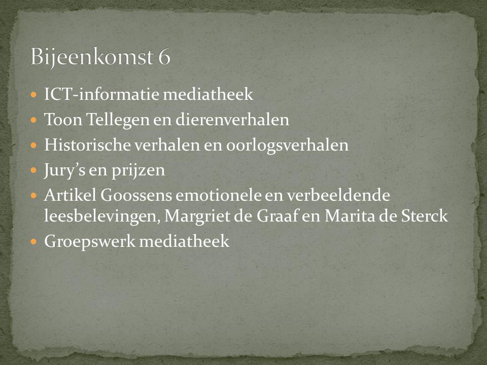 ICT-informatie mediatheek Toon Tellegen en dierenverhalen Historische verhalen en oorlogsverhalen Jury's en prijzen Artikel Goossens emotionele en ver