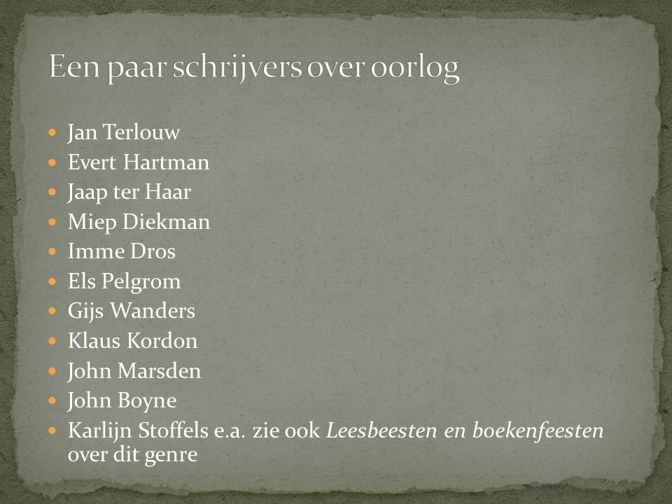 Jan Terlouw Evert Hartman Jaap ter Haar Miep Diekman Imme Dros Els Pelgrom Gijs Wanders Klaus Kordon John Marsden John Boyne Karlijn Stoffels e.a. zie