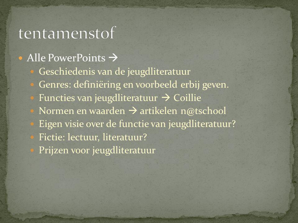 Alle PowerPoints  Geschiedenis van de jeugdliteratuur Genres: definiëring en voorbeeld erbij geven. Functies van jeugdliteratuur  Coillie Normen en