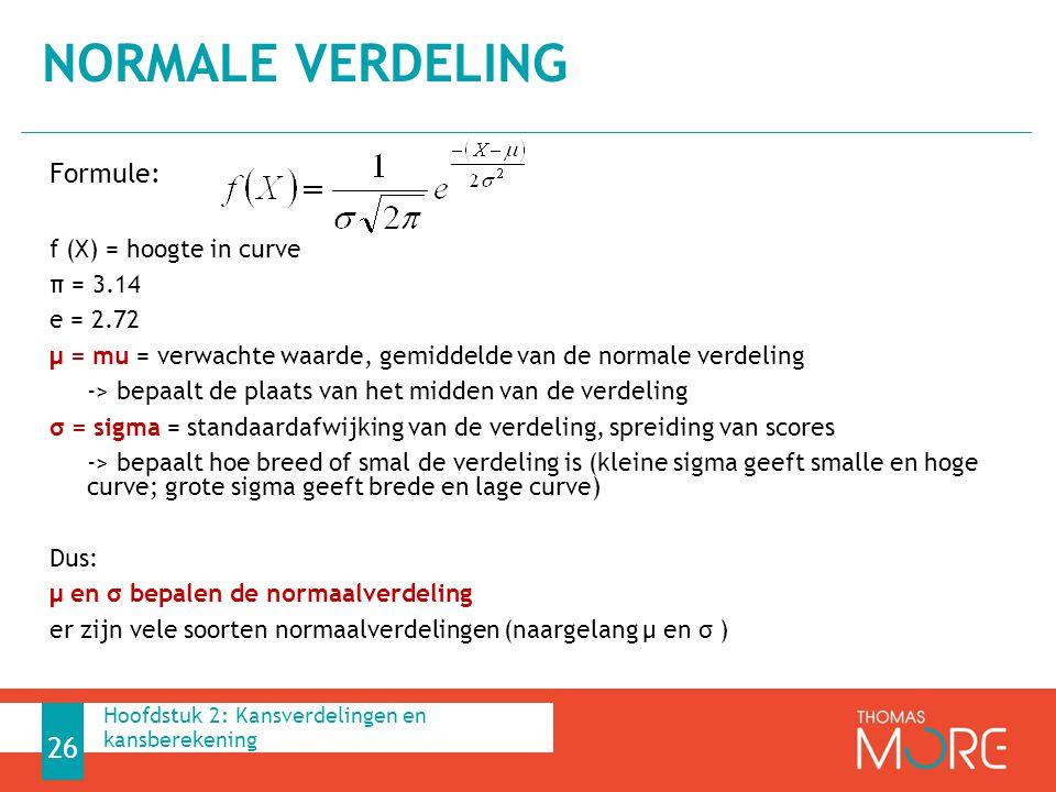 Formule: f (X) = hoogte in curve π = 3.14 e = 2.72 μ = mu = verwachte waarde, gemiddelde van de normale verdeling -> bepaalt de plaats van het midden