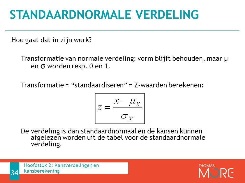 """Hoe gaat dat in zijn werk? Transformatie van normale verdeling: vorm blijft behouden, maar µ en σ worden resp. 0 en 1. Transformatie = """"standaardisere"""