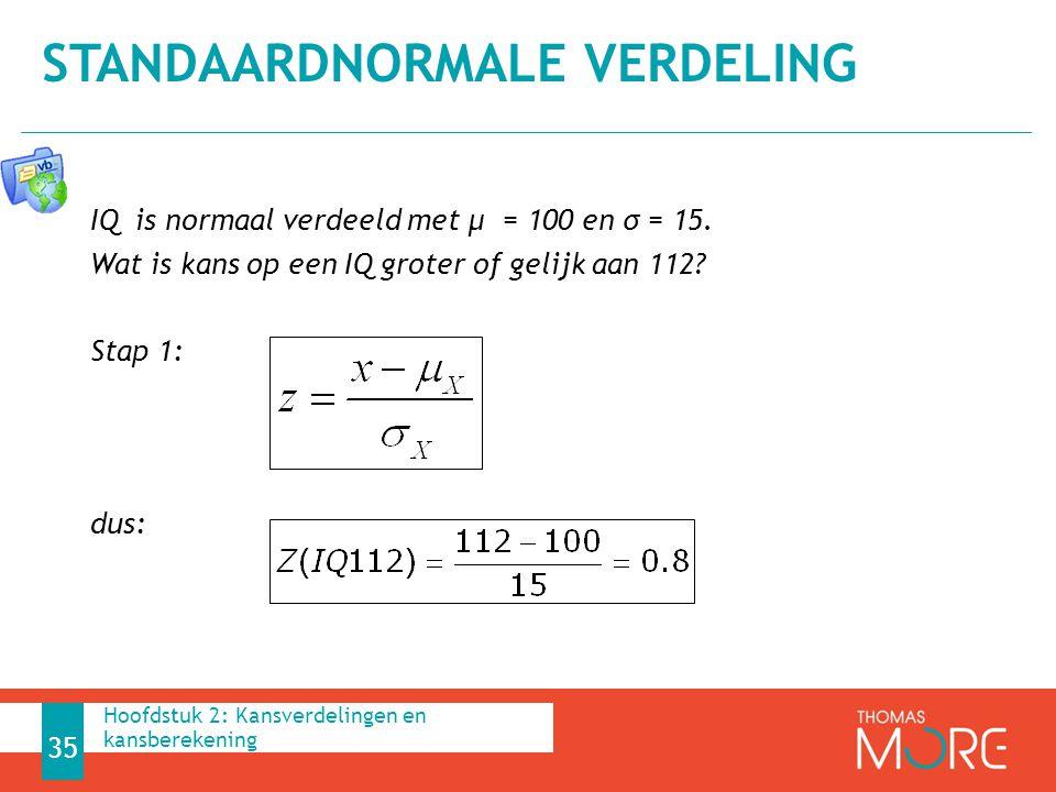 IQ is normaal verdeeld met μ = 100 en σ = 15. Wat is kans op een IQ groter of gelijk aan 112? Stap 1: dus: STANDAARDNORMALE VERDELING 35 Hoofdstuk 2: