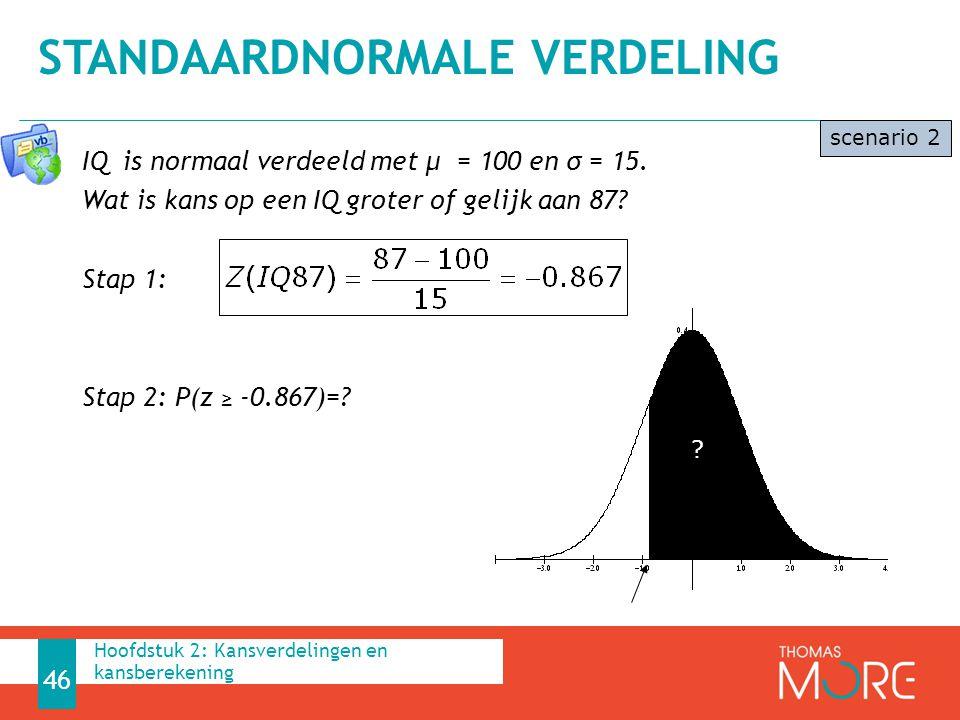 IQ is normaal verdeeld met μ = 100 en σ = 15. Wat is kans op een IQ groter of gelijk aan 87? Stap 1: Stap 2: P(z ≥ -0.867)=? STANDAARDNORMALE VERDELIN
