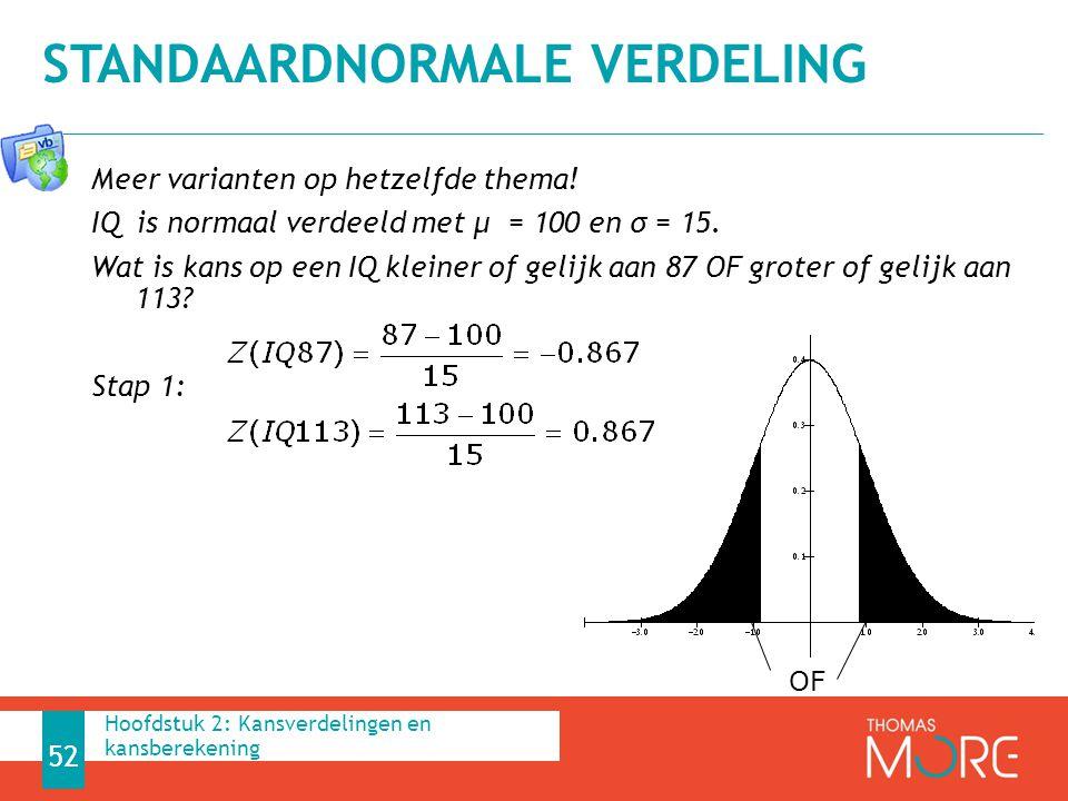 Meer varianten op hetzelfde thema! IQ is normaal verdeeld met μ = 100 en σ = 15. Wat is kans op een IQ kleiner of gelijk aan 87 OF groter of gelijk aa