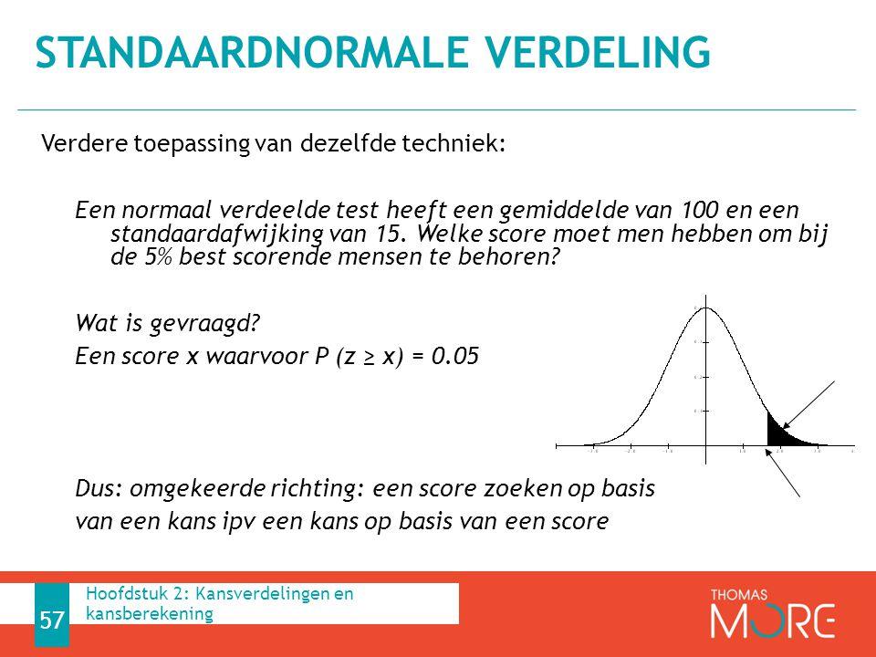 Verdere toepassing van dezelfde techniek: Een normaal verdeelde test heeft een gemiddelde van 100 en een standaardafwijking van 15. Welke score moet m