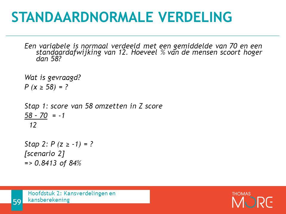 Een variabele is normaal verdeeld met een gemiddelde van 70 en een standaardafwijking van 12. Hoeveel % van de mensen scoort hoger dan 58? Wat is gevr