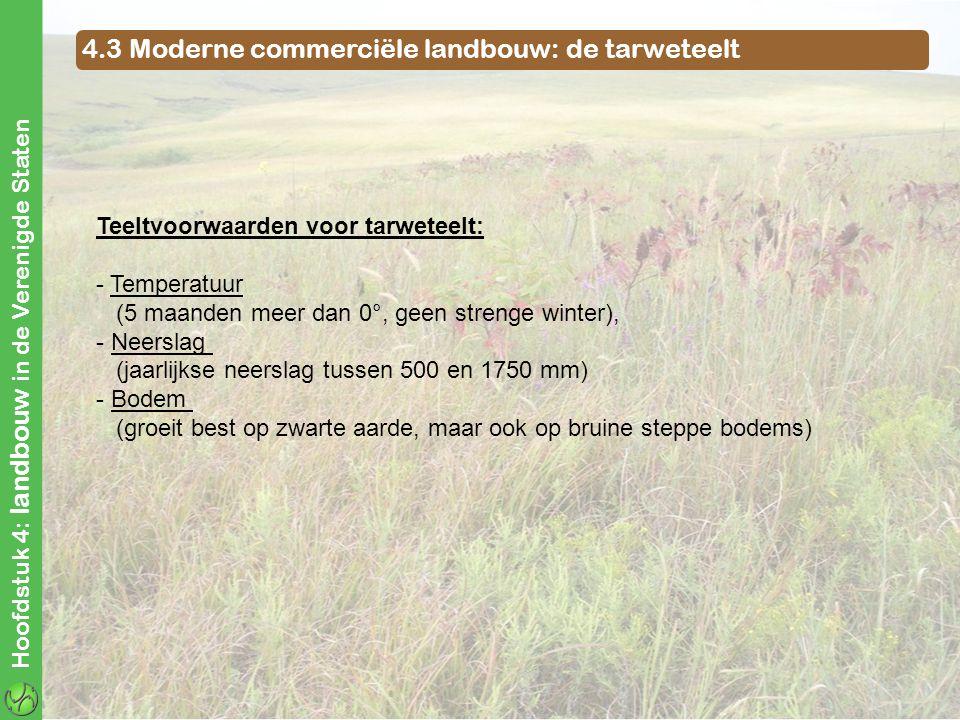 4.3 Moderne commerciële landbouw: de tarweteelt Hoofdstuk 4: landbouw in de Verenigde Staten Teeltvoorwaarden voor tarweteelt: - Temperatuur (5 maande