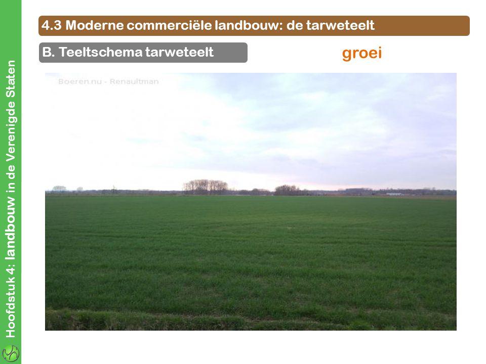 4.3 Moderne commerciële landbouw: de tarweteelt B. Teeltschema tarweteelt Hoofdstuk 4: landbouw in de Verenigde Staten groei