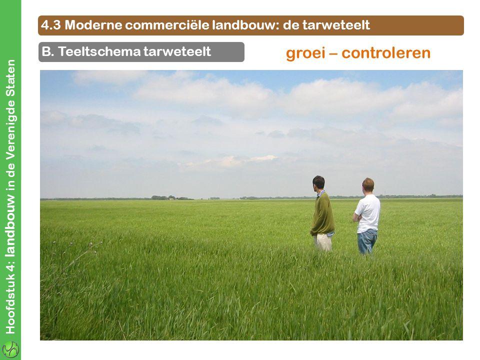 4.3 Moderne commerciële landbouw: de tarweteelt B. Teeltschema tarweteelt Hoofdstuk 4: landbouw in de Verenigde Staten groei – controleren