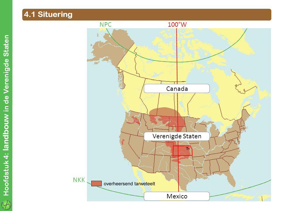 Hoofdstuk 4: landbouw in de Verenigde Staten 4.1 Situering Canada Mexico Verenigde Staten NKK NPC100°W