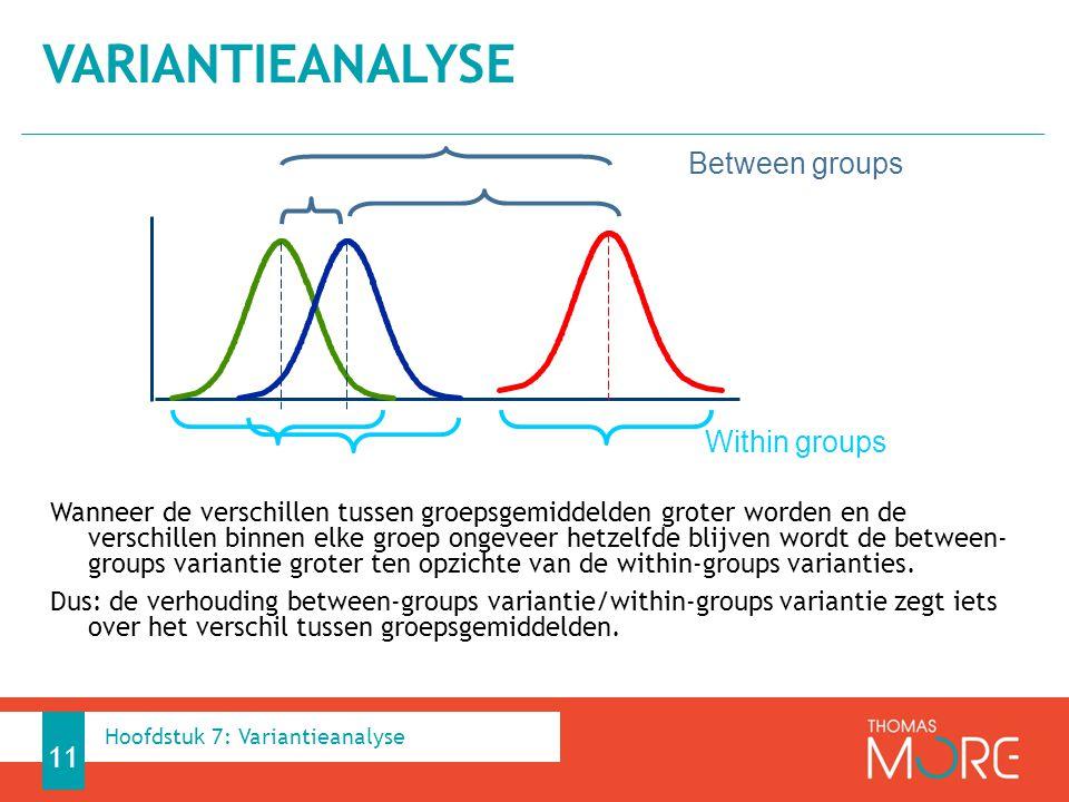 Wanneer de verschillen tussen groepsgemiddelden groter worden en de verschillen binnen elke groep ongeveer hetzelfde blijven wordt de between- groups variantie groter ten opzichte van de within-groups varianties.