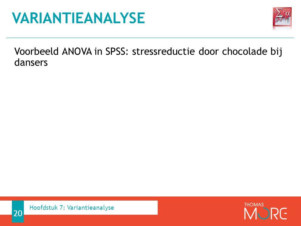 Voorbeeld ANOVA in SPSS: stressreductie door chocolade bij dansers VARIANTIEANALYSE 20 Hoofdstuk 7: Variantieanalyse