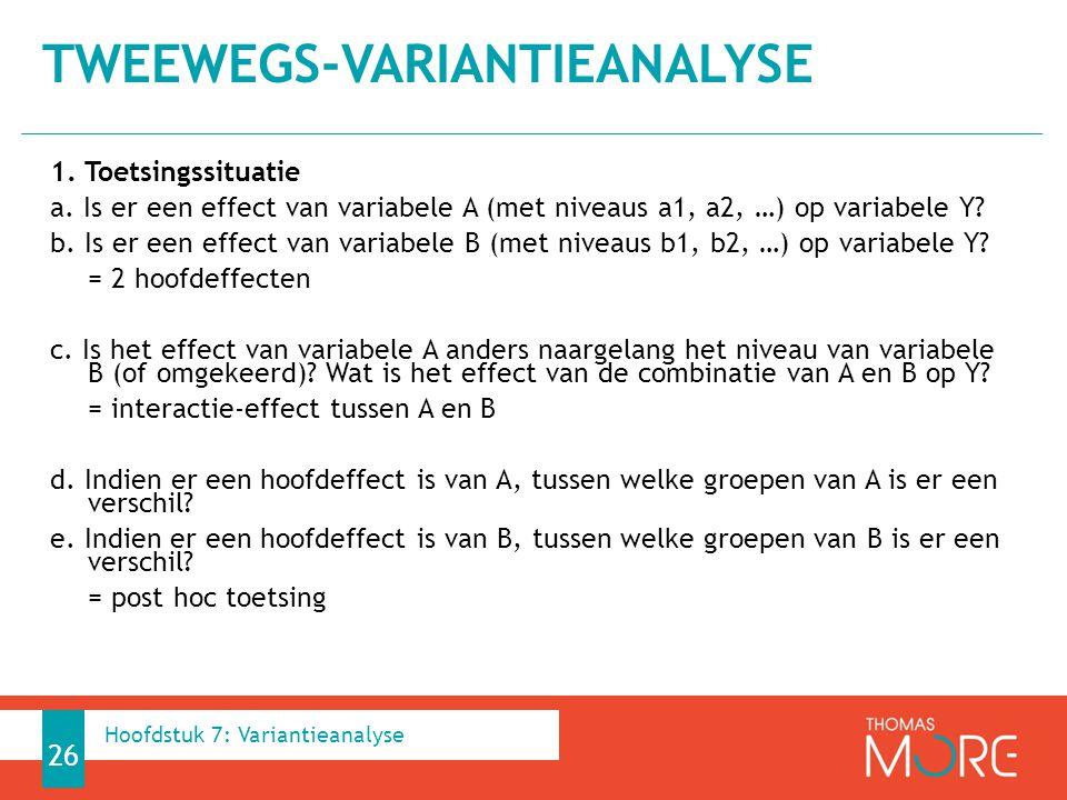 1.Toetsingssituatie a. Is er een effect van variabele A (met niveaus a1, a2, …) op variabele Y.