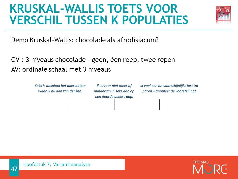 Demo Kruskal-Wallis: chocolade als afrodisiacum.