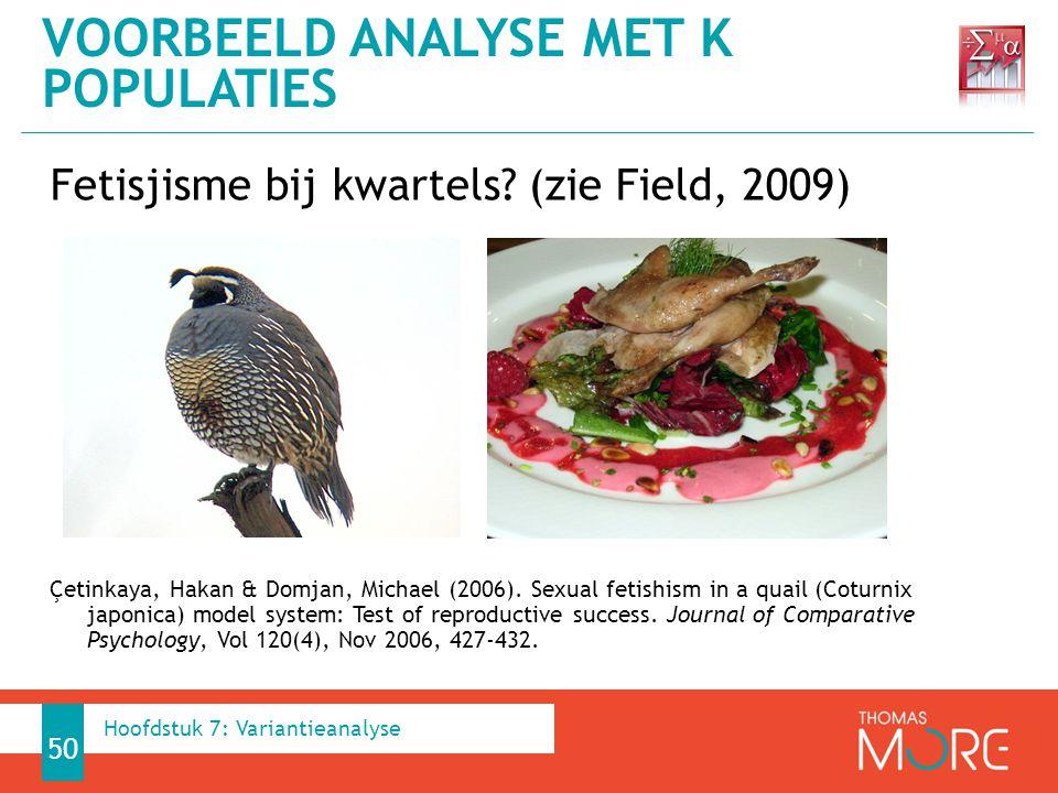 Fetisjisme bij kwartels.(zie Field, 2009) Çetinkaya, Hakan & Domjan, Michael (2006).