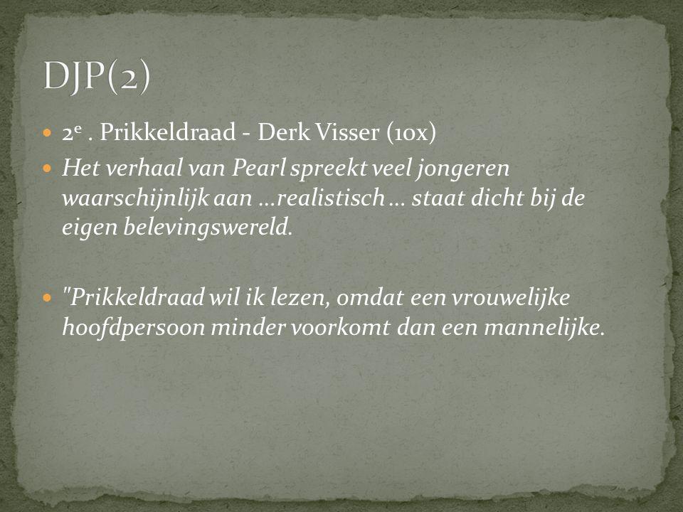 2 e. Prikkeldraad - Derk Visser (10x) Het verhaal van Pearl spreekt veel jongeren waarschijnlijk aan …realistisch … staat dicht bij de eigen belevings