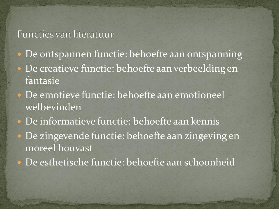 De ontspannen functie: behoefte aan ontspanning De creatieve functie: behoefte aan verbeelding en fantasie De emotieve functie: behoefte aan emotionee