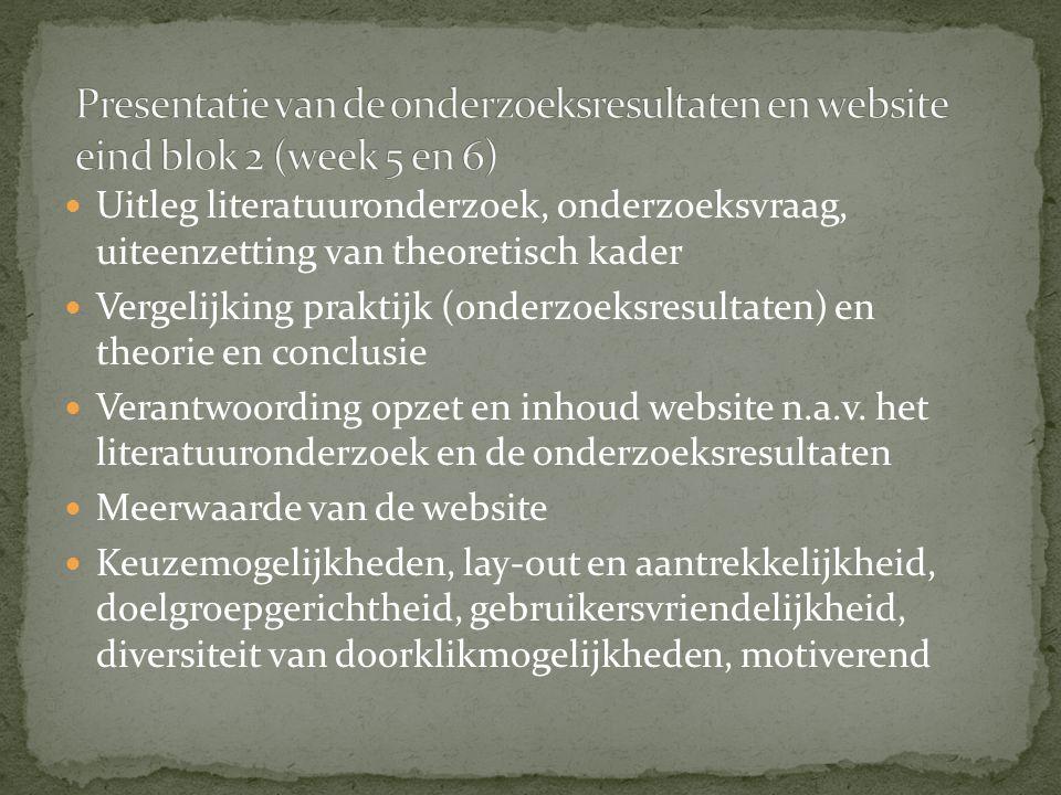 Uitleg literatuuronderzoek, onderzoeksvraag, uiteenzetting van theoretisch kader Vergelijking praktijk (onderzoeksresultaten) en theorie en conclusie Verantwoording opzet en inhoud website n.a.v.