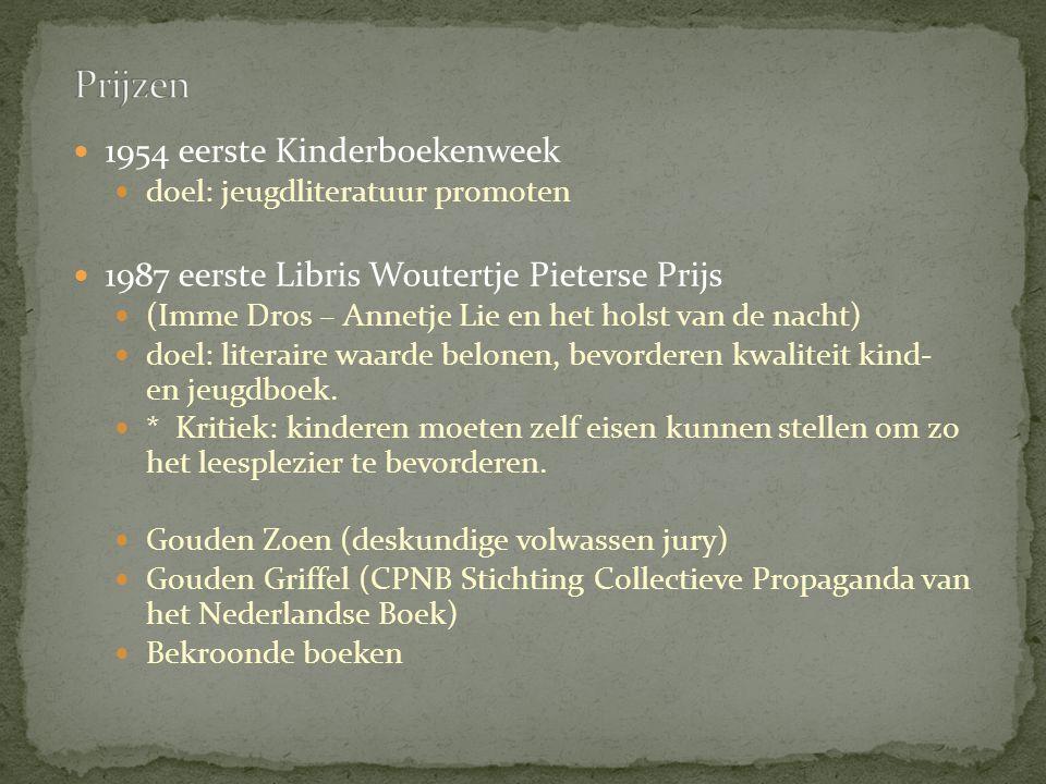 1954 eerste Kinderboekenweek doel: jeugdliteratuur promoten 1987 eerste Libris Woutertje Pieterse Prijs (Imme Dros – Annetje Lie en het holst van de nacht) doel: literaire waarde belonen, bevorderen kwaliteit kind- en jeugdboek.