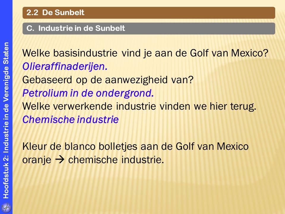 Hoofdstuk 2: Industrie in de Verenigde Staten Welke basisindustrie vind je aan de Golf van Mexico? Olieraffinaderijen. Gebaseerd op de aanwezigheid va