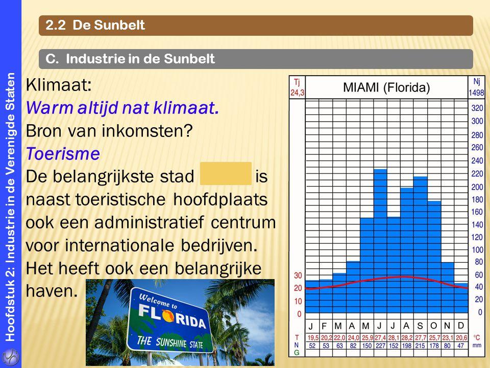 Hoofdstuk 2: Industrie in de Verenigde Staten 2.2 De Sunbelt C. Industrie in de Sunbelt Klimaat: Warm altijd nat klimaat. Bron van inkomsten? Toerisme