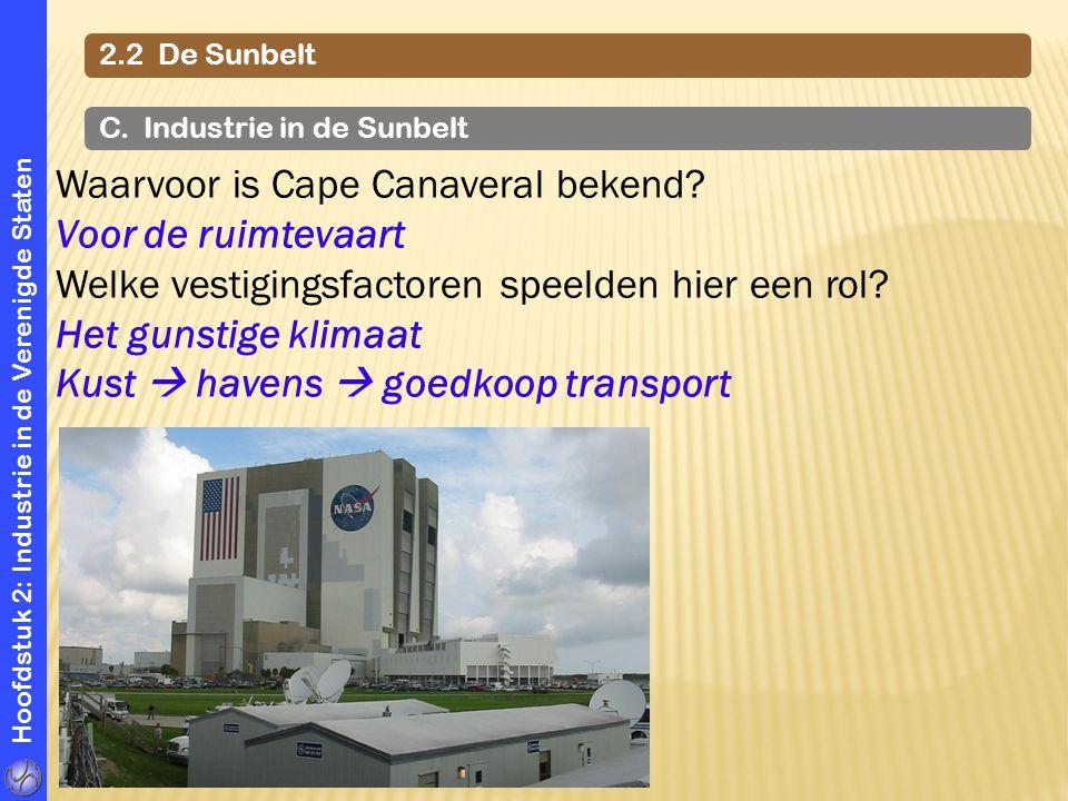 Hoofdstuk 2: Industrie in de Verenigde Staten 2.2 De Sunbelt C. Industrie in de Sunbelt Waarvoor is Cape Canaveral bekend? Voor de ruimtevaart Welke v