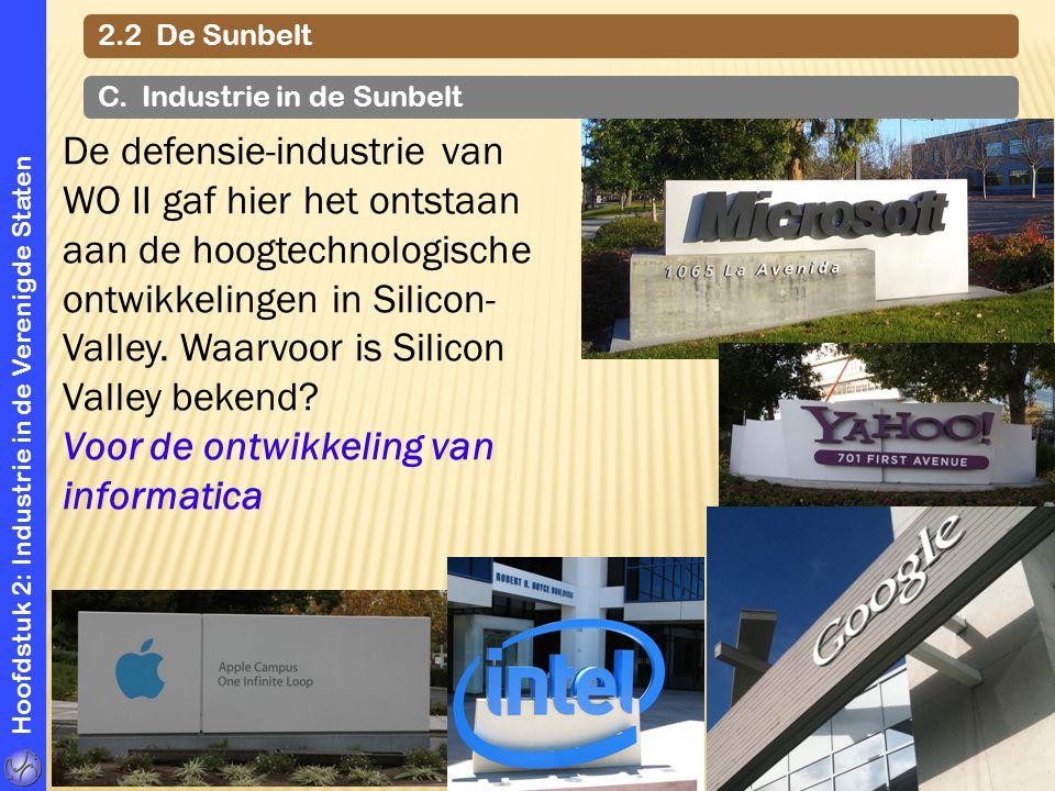 Hoofdstuk 2: Industrie in de Verenigde Staten 2.2 De Sunbelt C. Industrie in de Sunbelt De defensie-industrie van WO II gaf hier het ontstaan aan de h