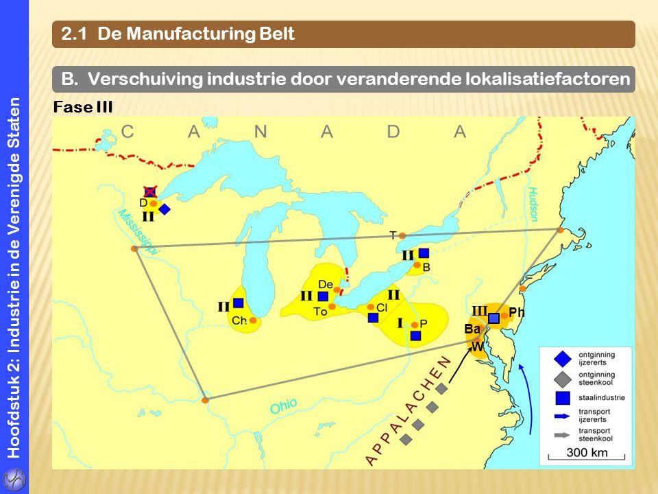 Hoofdstuk 2: Industrie in de Verenigde Staten 2.1 De Manufacturing Belt B. Verschuiving industrie door veranderende lokalisatiefactoren Fase III Ph W