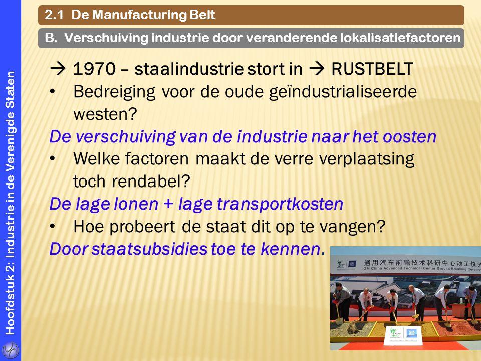 Hoofdstuk 2: Industrie in de Verenigde Staten 2.1 De Manufacturing Belt B. Verschuiving industrie door veranderende lokalisatiefactoren  1970 – staal