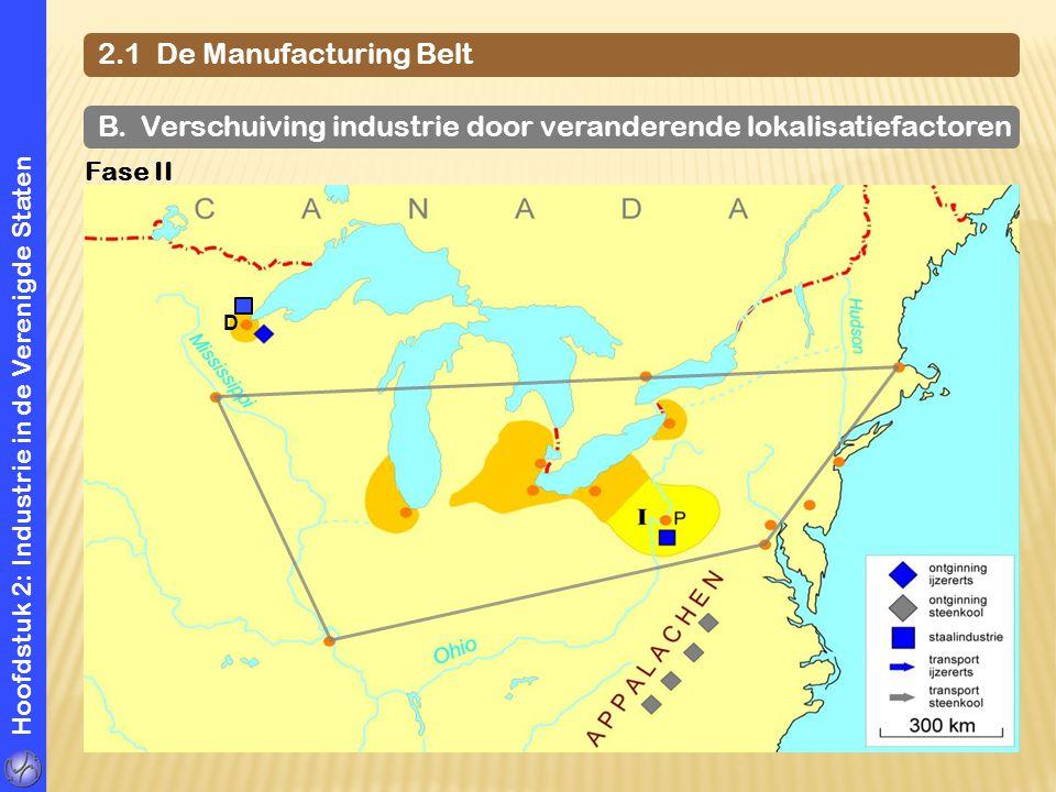 Hoofdstuk 2: Industrie in de Verenigde Staten 2.1 De Manufacturing Belt B. Verschuiving industrie door veranderende lokalisatiefactoren Fase II D